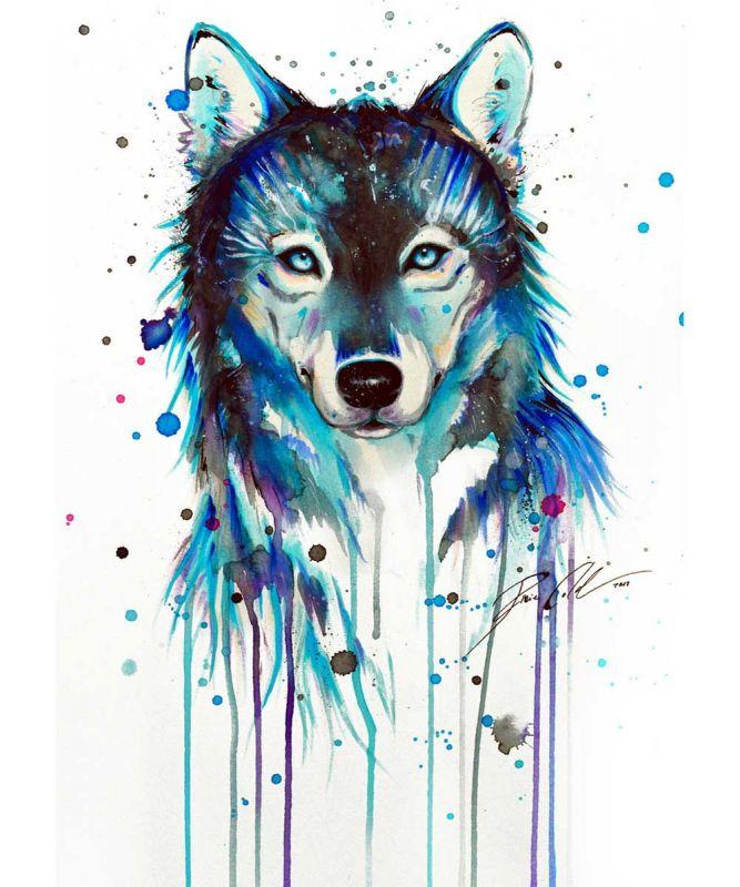 Сублимации волк  акварель