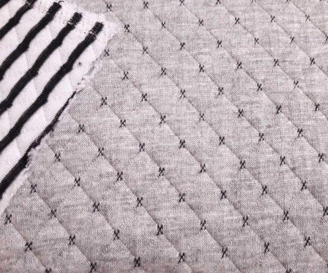 Трикотаж зара серый с чёрной полосой с изнанки