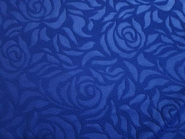 Трикотаж жаккард розы цвет синий электрик