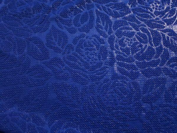 Трикотаж жаккард розы с напылением цвет синий электрик