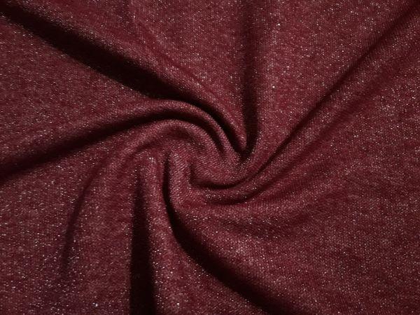 Купить Трикотаж двухнитка петля хб с люрексом плотная цвет бордо по цене 135 грн