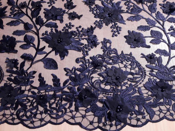 Гипюр сетка с вышивкой 3D аппликация с бусинами цвет тёмно синий