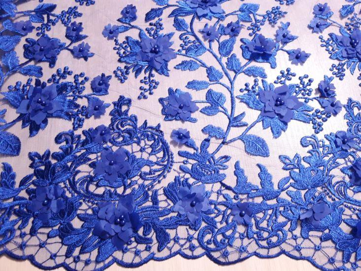 Гипюр сетка с вышивкой 3D аппликация с бусинами цвет синий электрик
