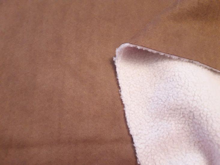 Замш на меху барашек цвет коричневый