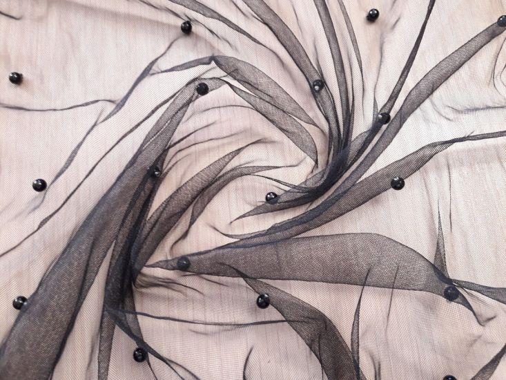 Сетка стрейч с бусинами цвет чёрный