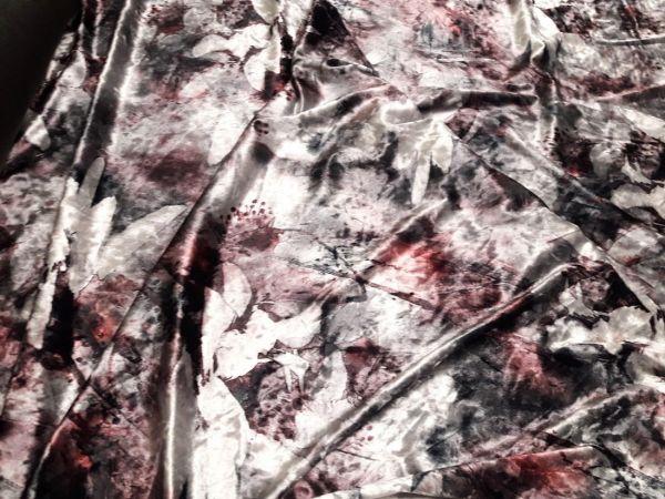 Велюр стрейч принт дымка цветы