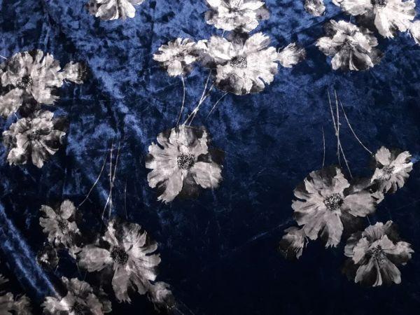 Велюр стрейч принт квіти фон синій
