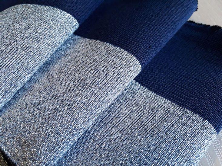 манжеты цвет тёмно синий и люрекс серебро