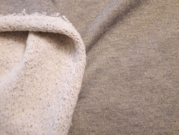 Трикотаж двунитка петля хб с люрексом С НАЧЁСОМ плотная с начёсом цвет бежевый