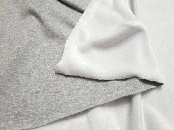 Трикотаж на меху цвет светло серый меланж, мех белый отрез 1,4м