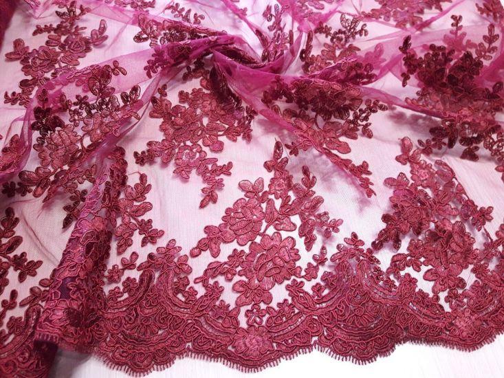 Гипюр сетка с вышивкой фестон цвет бордо
