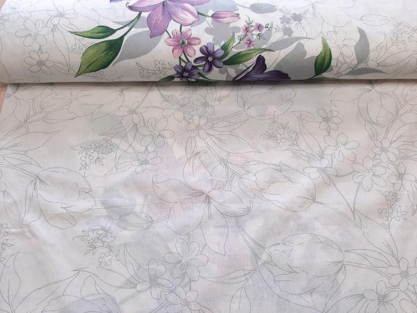Постельная ткань бязь Gold lux принт цветы купон отрез 3,1м