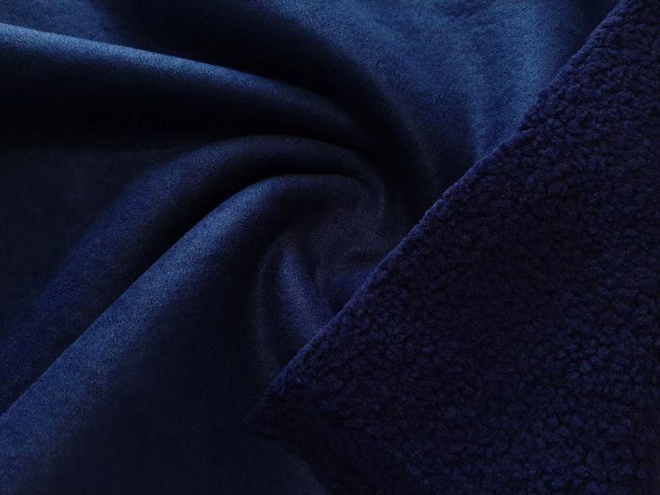 Замш на меху барашек цвет тёмно синий