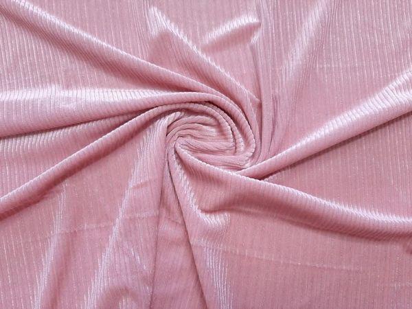 Велюр стрейч Люрекс цвет розовая пудра