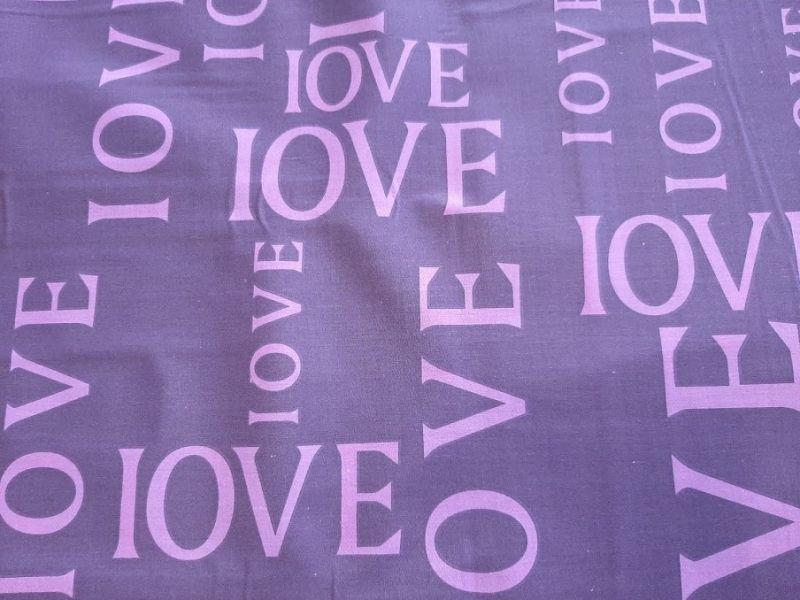 Постельная ткань бязь Gold lux принт love цвет ФИОЛЕТОВЫЙ лиловый компаньон отрез 1,5м