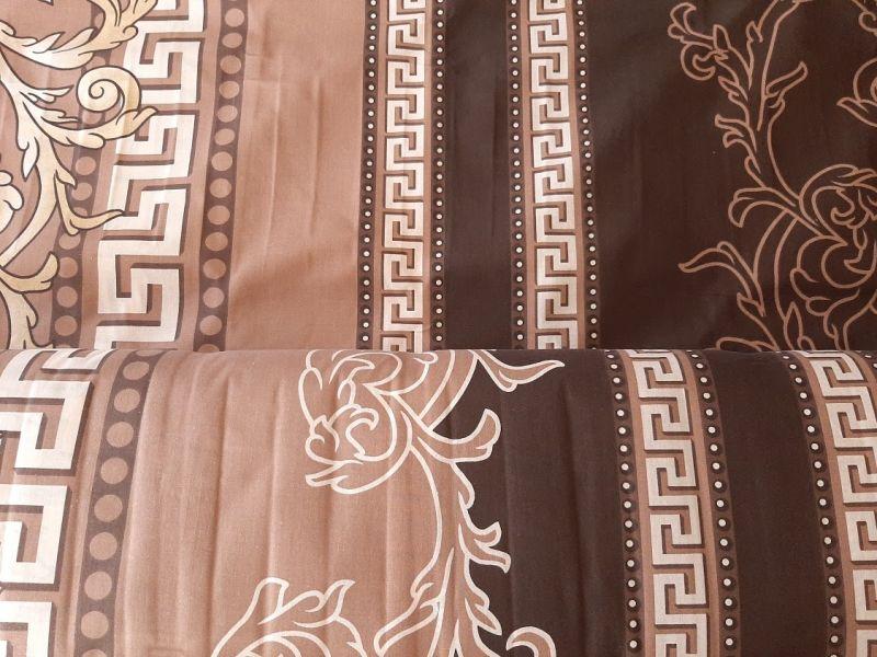 Постельная ткань бязь Gold lux принт вензеля коричневый беж отрез 2м