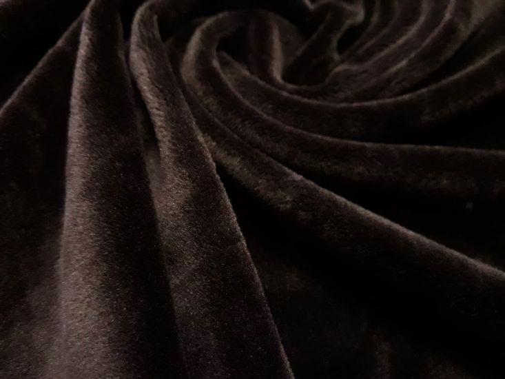 Велюр суперсофт би-стрейч плюшевый цвет коричневый шоколад