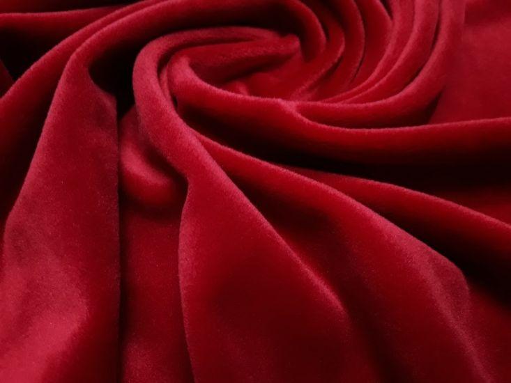 Велюр суперсофт би-стрейч плюшевый цвет красный