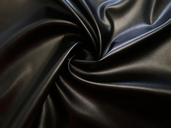 Кожзам стрейч на трикотаже цвет чёрный