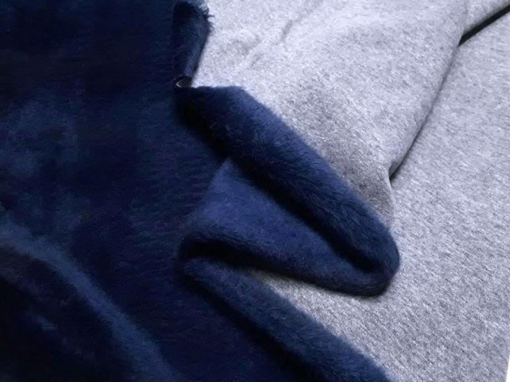 Трикотаж на меху цвет серый меланж + тёмно синий