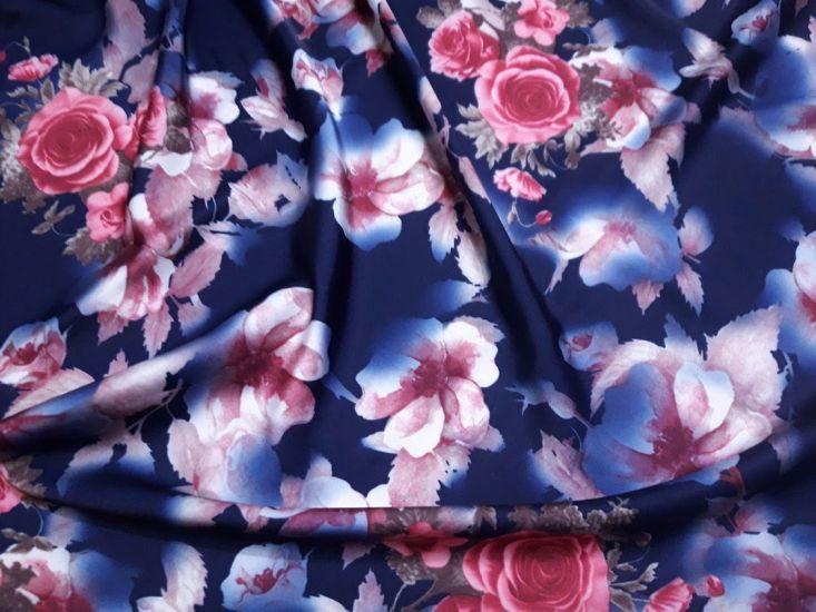 Шелк Армани принт цветы фон тёмно синий