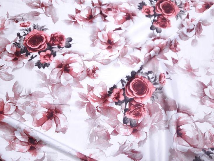 Шелк Армани принт розы красные фон бело молочный