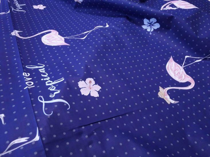Постельная ткань бязь Gold lux принт фламинго фон синий