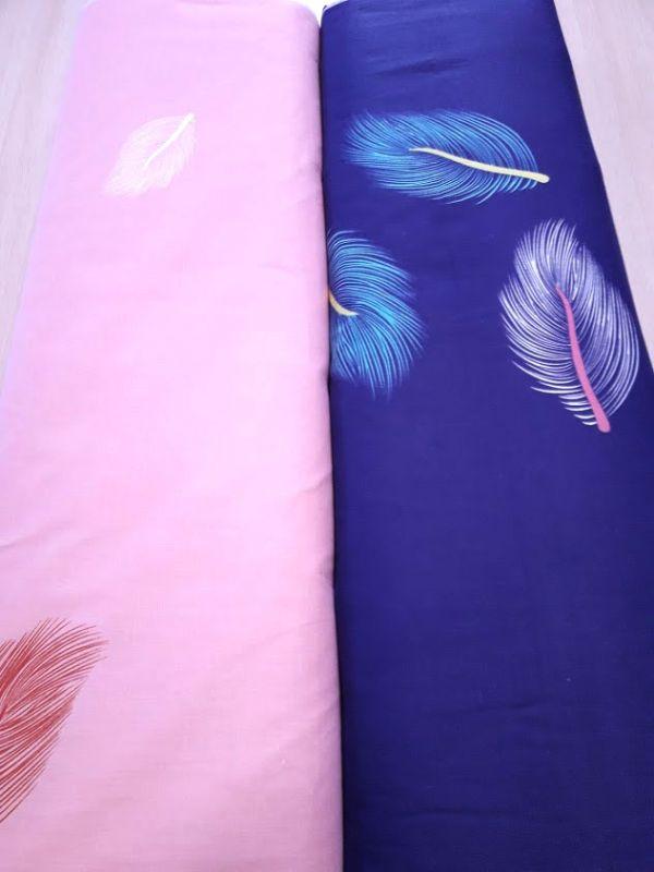 Постельная ткань бязь Gold lux принт перья компаньон розовый