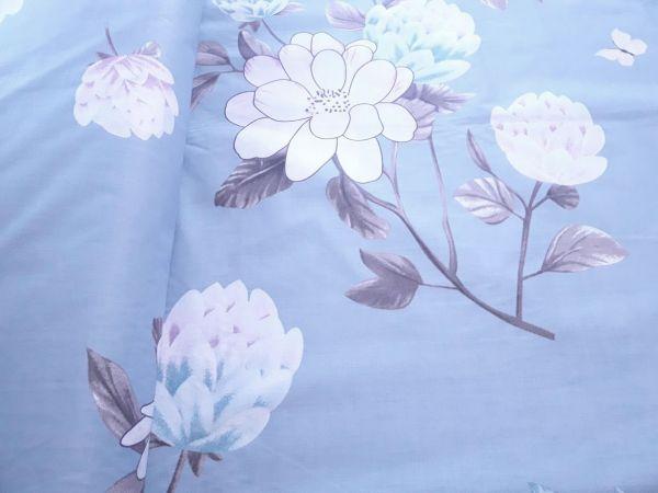 Постільна тканина бязь Gold lux принт квіти фон сіро блакитний