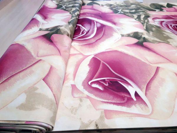 Постельная ткань бязь Gold lux принт крупные розы