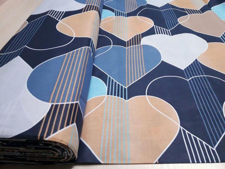 Постельная ткань бязь Gold lux принт сердечки компаньон синий