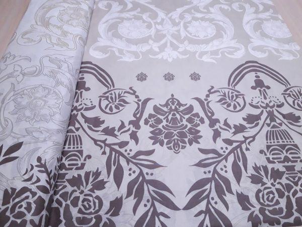 Постельная ткань бязь Gold lux принт вензеля цвет капучино отрез 2,1м