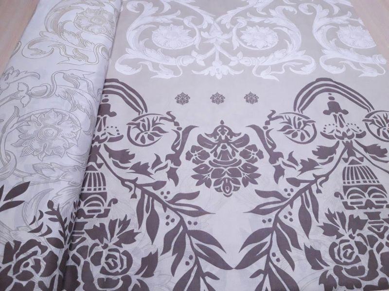Постельная ткань бязь Gold lux принт вензеля цвет капучино