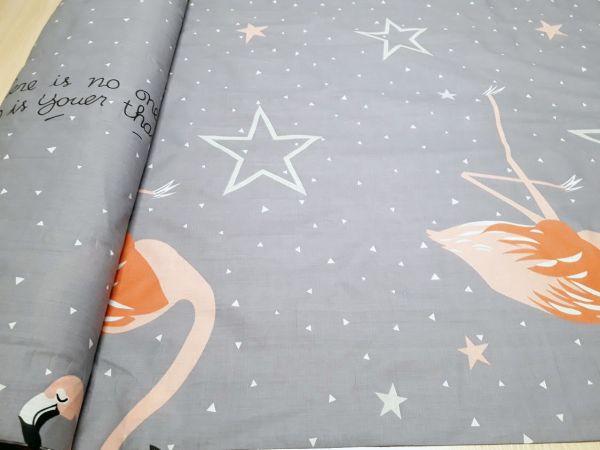 Постельная ткань бязь Gold lux принт фламинго фон серый отрез 0,4м