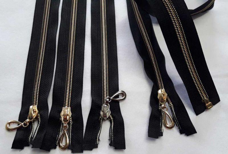 Молния 65см спираль пластик, ткань цвет чёрный золото