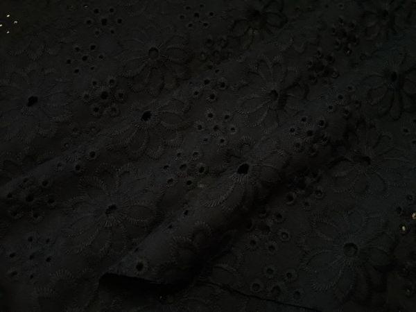 Батист вышитый (прошва) цветы 2-4 цвет черный