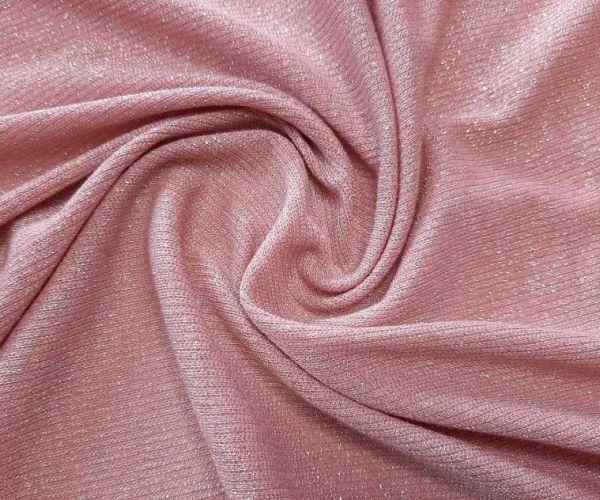 Трикотаж резинка люрекс цвет пыльная роза