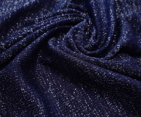 Трикотаж резинка люрекс цвет тёмно синий