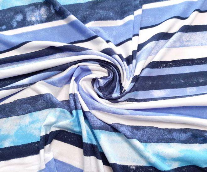 Вискозний трикотаж принт полоска цвета синий голубой