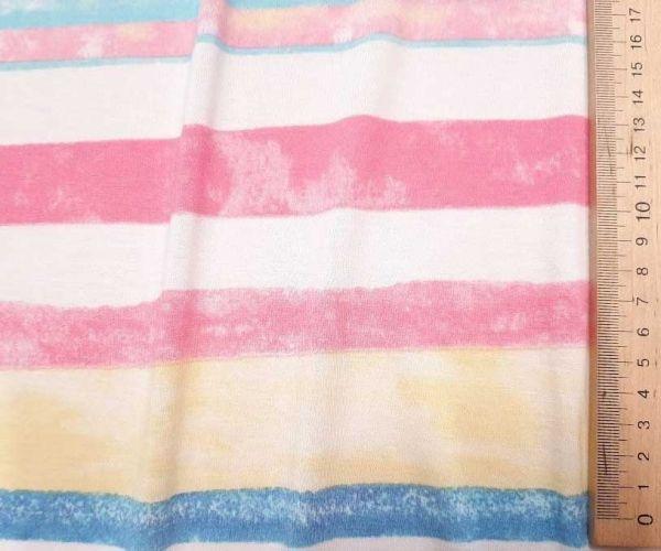 Вискозный трикотаж принт полоска цвета розовый жёлтый голубой
