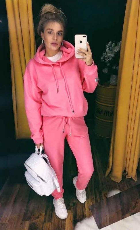 Трехнітка на флісі колір ніжно рожевий неоновий