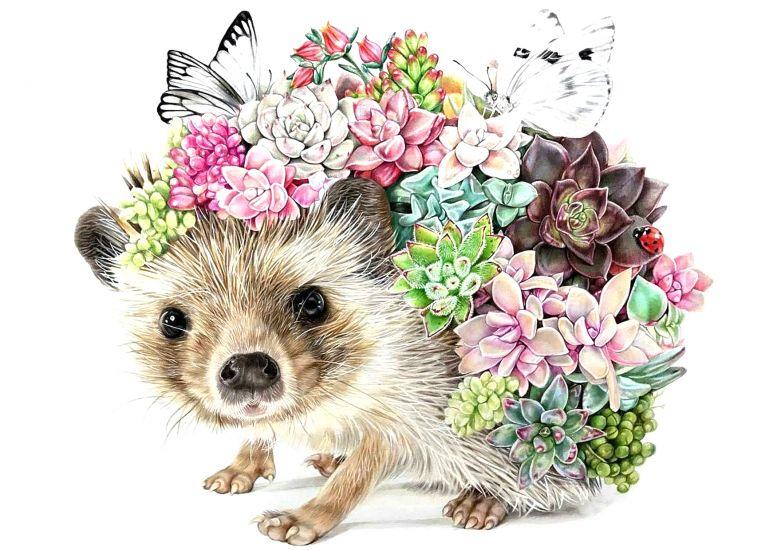 Сублимация ёжик с цветами