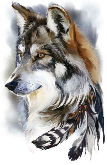 Сублимация волк перья