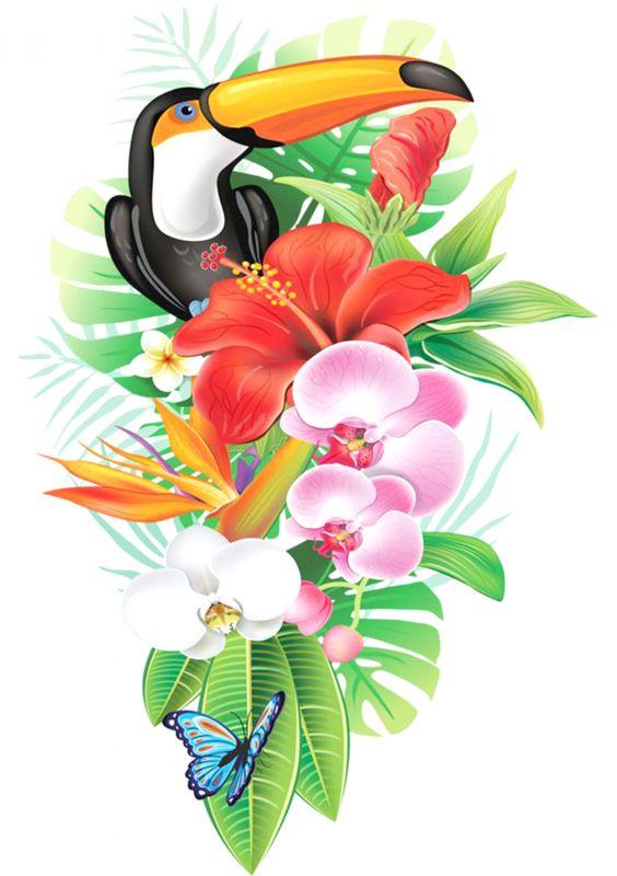 Сублимация цветы какаду