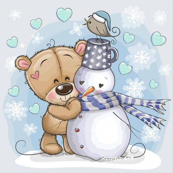 Сублимация мишка и снеговик