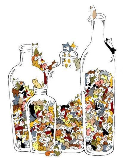Сублимация котята в бутылке