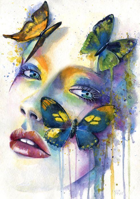 Сублимации девушка с бабочками акварель
