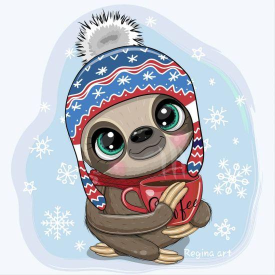 Сублимация милый ленивец зима кофе