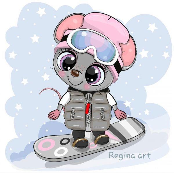 Сублимация милая мышка зима скейт