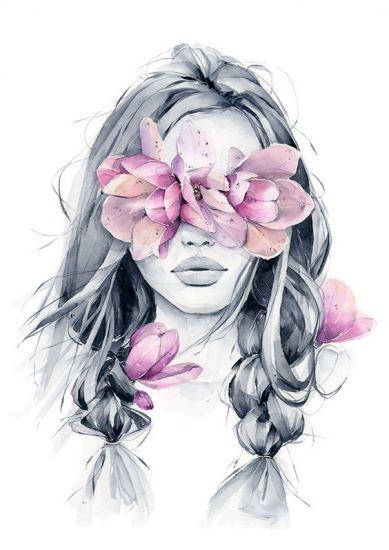 Сублимация девушка цветы 2546